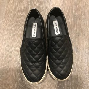 Steve Madden quilted leather slip ons size 6.5